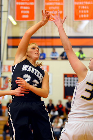 3-1-14  ---  Semi State girls basketball between Western HS and Norwell HS with western winning 41-31. -- <br /> KT photo   Tim Bath