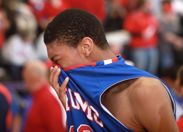 3-15-14<br /> Kokomo Regional Game against Homestead<br /> Kokomo's Demarius Warren gets emotional after the loss to Homestead in the Regional Tournament game on Saturday.<br /> KT photo | Kelly Lafferty