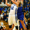 3-1-14  ---  Semi State girls basketball between Tipton and Canterbury. Tipton's Kacie Juday putting a shot up with Canterbury's Katherine Smith blocking the shot in the second half. -- <br /> KT photo | Tim Bath