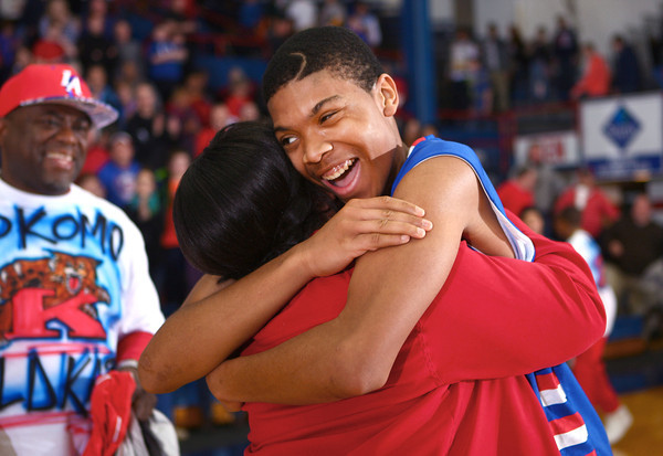 3-8-14<br /> Kokomo vs McCutcheon sectional championship<br /> Demarius Warren celebrates after Kokomo wins the sectional championship.<br /> KT photo | Kelly Lafferty