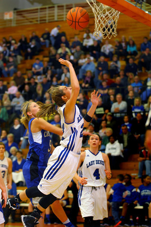 3-1-14  ---  Semi State girls basketball between Tipton and Canterbury. Tipton's Lela Crawford sailing in for an early game shot. -- <br /> KT photo | Tim Bath