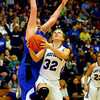 3-1-14  ---  Semi State girls basketball between Tipton and Canterbury. Canterbury's Katherine Smith putting lots of pressure on Tipton's Kacie Juday as she shoots in the later part of the game. -- <br /> KT photo | Tim Bath