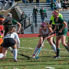 Nashoba players mass around the Marlboro net during a shot on net. The rebound eventually was put in but it wasnt enough as Marlboro prevailed 2-1 in the Central Mass. Division 1 field hockey championship game at Grafton High School on Friday, Nov. 11, 2016. SENTINEL & ENTERPRISE / Jim Marabello