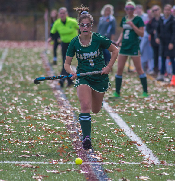 Erica Spallone of Nashoba charges down the sideline late in the Div I Field Hockey Championship Game. SENTINEL & ENTERPRISE / Jim Marabello