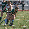 Nashoba's Erica Spallone tries to get around the corner on Marlboro's Ciara Shanahan in the Div I Field Hockey Championship Game at Grafton HS. Marlboro scored with 4 seconds left to dethrone Nashoba. SENTINEL & ENTERPRISE / Jim Marabello