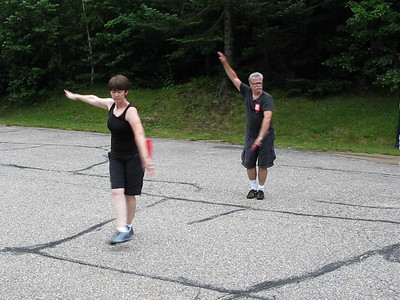 Dori Li and Steve Edmonds performing modified Kung Fu fan form (Waterville Valley, NH July 2010)