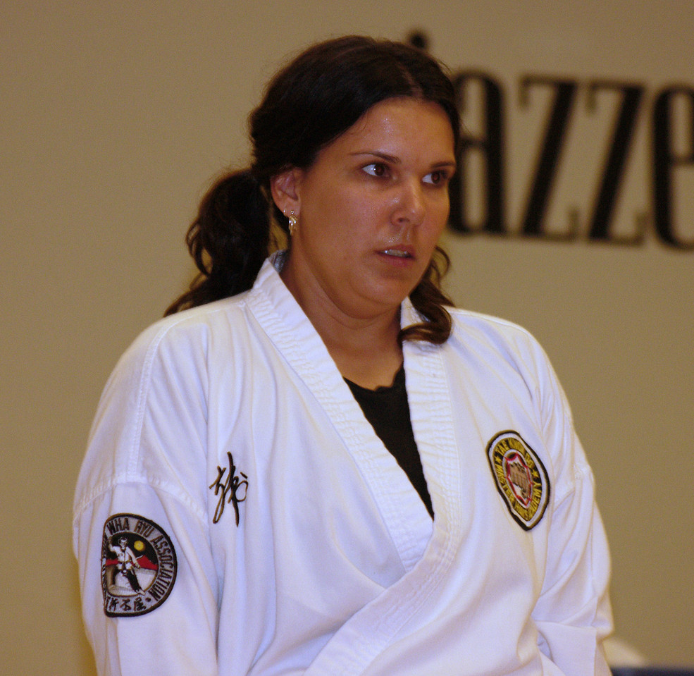 Linda tests for the first time for her first degree yellow belt!  She was awesome!!