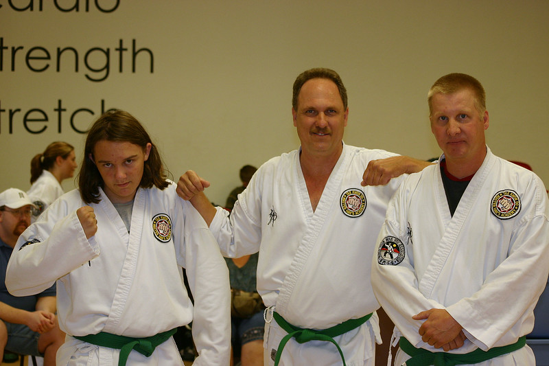 David, John and Ken sporting their green belts.  Way to go guys!