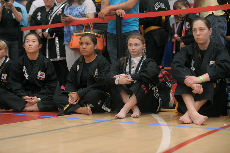Menlo Park Kuk Sool Won black belts waiting to compete at the 2016 WKSA Pacific Tournament, Folsom, CA.  April 16, 2016.