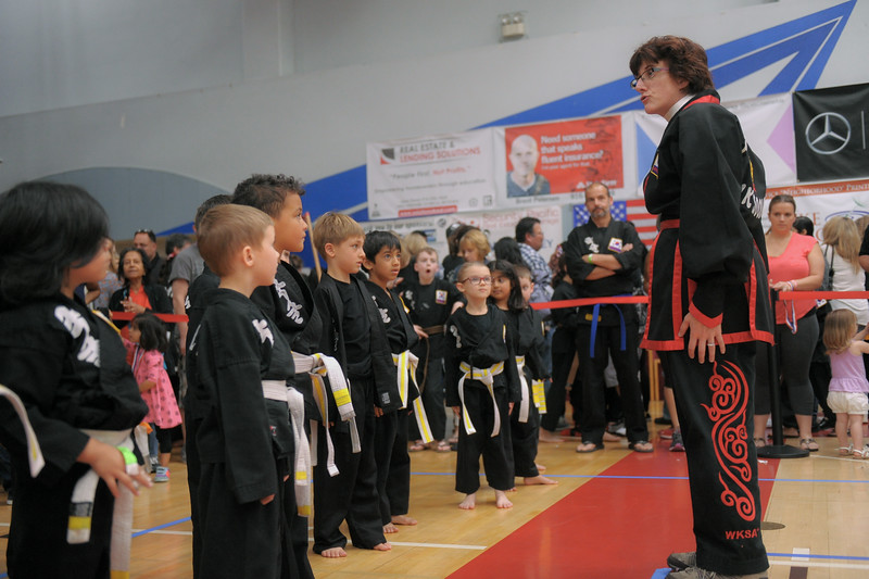 Ma'am warms up the white belts at the 2016 WKSA Pacific Tournament, Folsom, CA.  April 16, 2016.