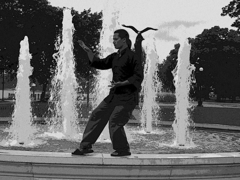 Form at the Fountain B/W