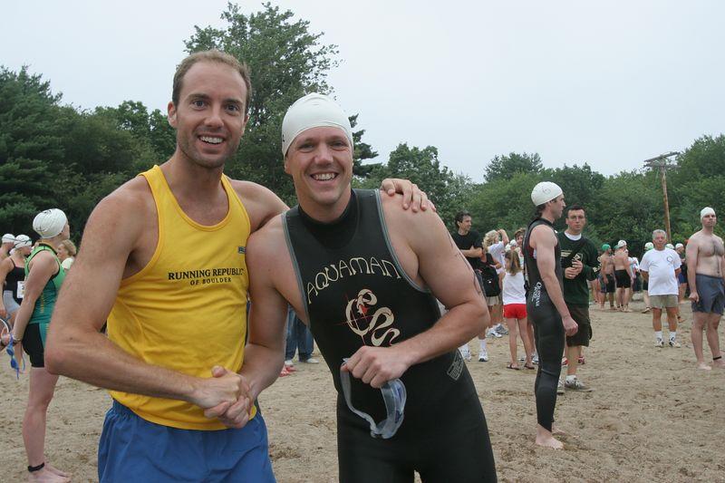 Kit Wells greets Brian Doldt before the start of the Massachusetts Triathlon
