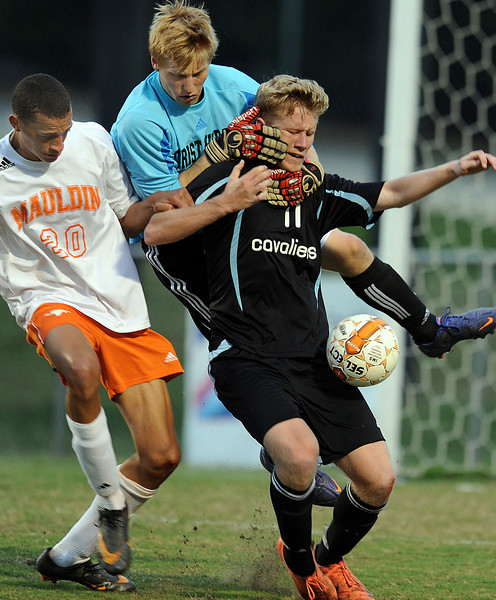 The Mauldin Mavericks played host to the Christ Church Cavaliers in a soccer match.<br /> GWINN DAVIS PHOTOS<br /> gwinndavis@gmail.com  <br /> (864) 915-0411