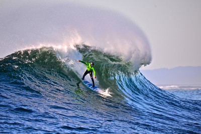Shawn Dollar, Big Wave World Record Holder, taking a right at Mavericks.