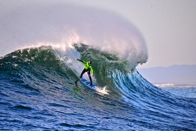Shawn Dollar, Big Wave World Record Holder, taking a right at Mavericks.