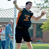 Altamont's Jake Seidel releases the discus after his throw at the National Trail Conference championship meet at Altamont