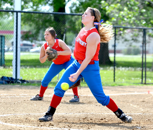 St. Anthony's Jenna Woltman releases a pitch during the NTC semifinals against Altamont.