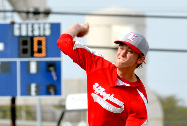 Effingham starting pitcher Braydon Bone throws a pitch during the Flaming Hearts' 9-1 loss to Teutopolis.