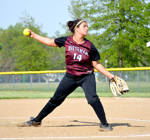 Dieterich pitcher Sydney Higgs goes through her windup during the National Trail Confernce tournament against St. Elmo/Brownstown.