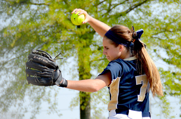 Teutopolis starting pitcher Kadi Borries gets into her throwing motion in the Lady Shoes' 3-1 win over Mattoon.