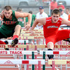 Effingham's Collin Hecht races side-by-side with Salem's Daniel Dillon during the Apollo Conference track meet.