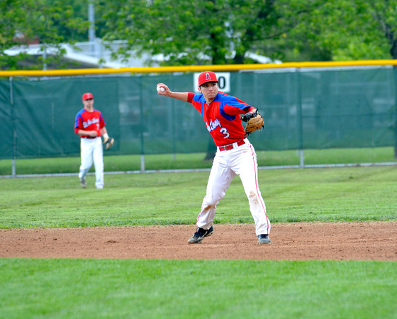 St. Anthony second baseman Jacob Lorenz fires a ball toward first during game one of the City Series against Effingham.