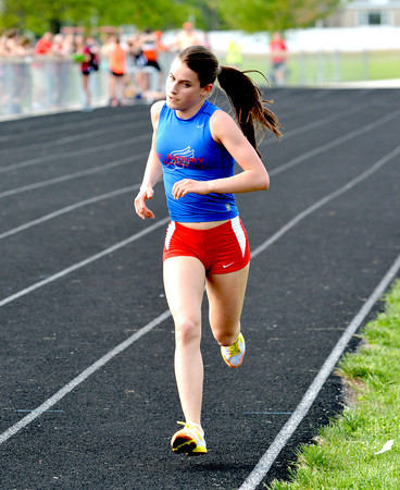 St. Anthony's Anna Sophia Keller runs her third lap during the 3,200-meter run at the National Trail Conference meet in Altamont.