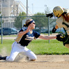 Teutopolis shortstop Madison Cowman tags out Mattoon base runner Kasey Considine at second base during the Lady Shoes' 3-1 win on Tuesday