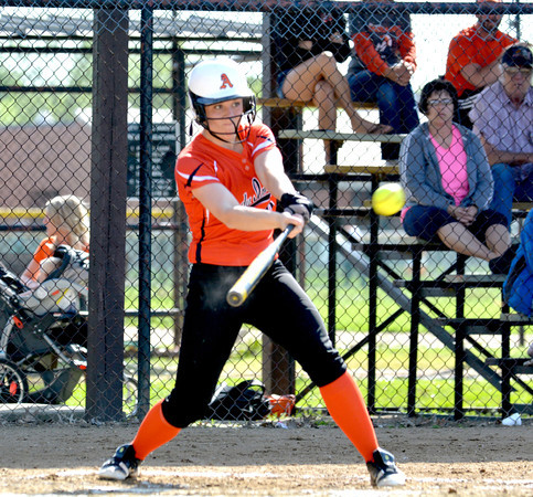 Altamont's Lauren White connects for a triple during the second inning of the Indians' 9-0 win over St. Anthony in the NTC semifinals. White was 4-for-4 with two triples and an RBI on the day