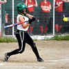 Stew-Stras/Windsor's Courtney Schultz begins her swing for a double in the sixth inning against Neoga.