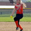 Altamont starting pitcher Deidre Ledbetter enters her wind-up against Beecher City/Cowden-Herrick. The Indians won 14-0 behind Ledbetter's one-hitter, moving on to play Stew-Stras/Windsor for the Class 1A Altamont Regional title on Saturday.