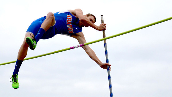 Newton's Matthew Tolliver-Goode clears the bar in the pole vault at the Eagle Invite.