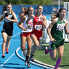 Effingham's Shayna Phillips (center) runs in the middle of the pack and attempts to catch Boylan Catholic's Kristina Kladar (right) during the Class 2A state preliminary 800-meter run at Eastern Illinois University.
