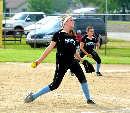 Cumberland pitcher Breanna Booker winds and fires during the Pirates' 4-0 win over Danville Schlarman at the Class 1A Cumberland Regional.