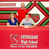 Effingham's Dylan Wolff commits to play football at Millikin University, with his mother Nicole Wolff sitting next to them earlier this month. Effingham head football coach Mike McDonald stands behind them.