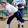 St. Elmo/Brownstown shortstop Morgan Brown corrals a ground ball during the Eagles' 10-0 loss against St. Anthony in the National Trail Conference tournament third-place game.