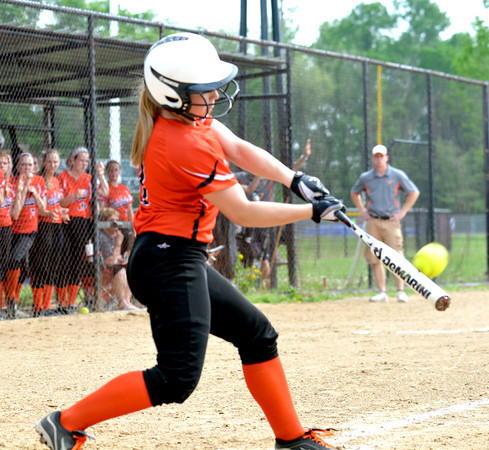 Altamont's Audrey Winters makes contact on a pitch during the NTC title game against Stew-Stras/Windsor.