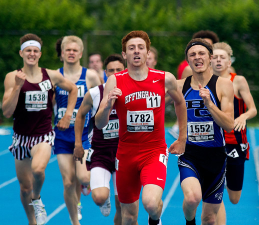 Effingham's Sean Zerrusen leads the 800-meter field on the last stretch en route to his Class 2A state championship in Charleston.