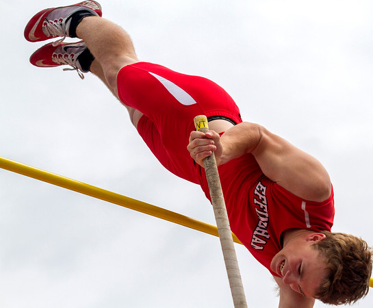 Effingham sophomore Alec Morrissey clears the bar at 12-03 during the Class 2A pole vault finals. He went on to finish 10th.