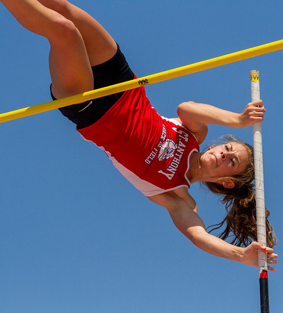 St. Anthony's Kristin Slaughter tries to clear 12-00 during the state finals. The junior had to settle for 11-09, which was still enough to crown her the Class 1A state champion in the pole vault.