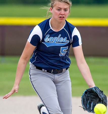 St. Elmo/Brownstown shortstop Emily Bone eyes a ground ball during a Class 1A St. Anthony Regional quarterfinal against Dieterich.