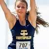 Teutopolis' Julia Hardiek goes airborn during the longjump Thursday in Charleston at the Class 1A state track preliminary meet. She finished with a jump of 14-11.25.