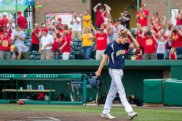Teutopolis senior Devin Smith walks off the field after the final out in Sauget during the Class 2A Sauget Super-Sectional against Murphysboro, which the Shoes lost 8-7.