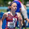 Newton freshman Sarah Carr rounds the northwest curve during the 800-meter run at the Class 1A state track preliminary meet in Charleston. Carr finished with a time of 2:27.78.