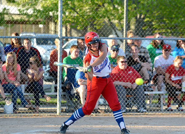 St. Anthony's Hunter Niebrugge swings during the National Trail Conference Tournament championship game against Windsor/Stew-Stras.