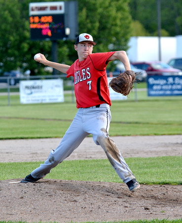 Beecher City/Cowden-Herrick's Austin Rexroad pitches against Altamont. Rexroad set the school record for career strikeouts in his final game.