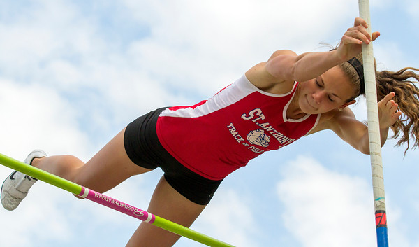 St. Anthony's Kristin Slaughter clears the bar during the pole vault event at the National Trail Conference meet in Altamont. After more than two years of trying, the junior finally earned a personal best of 12 feet.