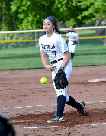 Teutopolis' Kadi Borries delivers a pitch during a 10-inning 1-0 loss to Effingham.