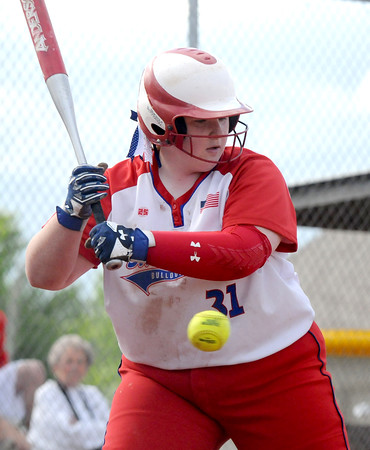 St. Anthony's Allie Day takes a pitch during the City Series against Effingham at St. Anthony High School.<br /> Chet Piotrowski Jr./Piotrowski Studios