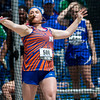 Newton's Courtney Hadra releases during the discus competition in Charleston at the Class 1A state track preliminary meet. Hadra threw for 91-03.